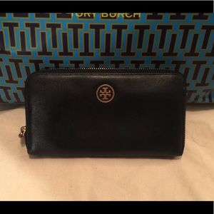 Tory Burch Leather Robinson Zip Around Wallet